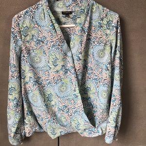 🦋 Talbots Faux-wrap blouse, size 2